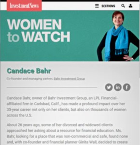 Candace Bahr, InvestmentNews Women to Watch