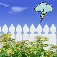 picket fence with lightning